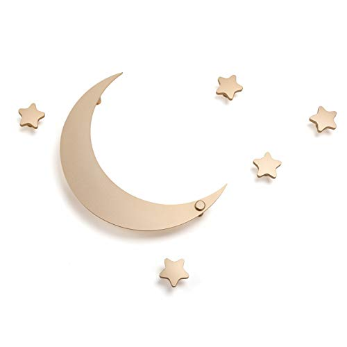 SDH Decorative Coat Hooks Wall Mounted, Wall Decoration, Moon and Stars Theme, Modern, Heavy Duty, Garment Friendly, Pack of 5 Star Hooks and 1 Moon Hook, Gold Color