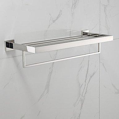 Towel Hanger- Bathroom Shelf Contemporary Stainless Steel 1 Pc - Hotel Bath Double