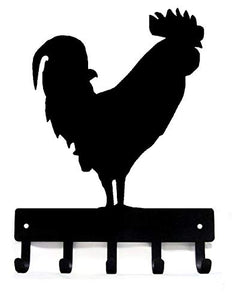 The Metal Peddler Rooster #02 Farm Key Rack - Large 9 inch Wide