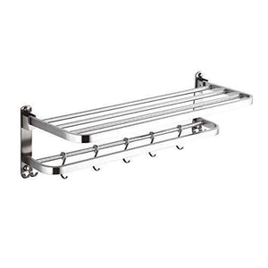 Organize with 304 stainless steel towel racks for bathroom with double towel bars 24 inch wall mount bath rack rustproof double layers foldable rail shelves bar with hooks