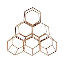 Kitchen koyal wholesale modern metal copper geometric wine rack 12 5 inches 6 bottle wine glass rack stand table top countertop wine rack wine glass holder hexagon iron wine stand for kitchen and bar