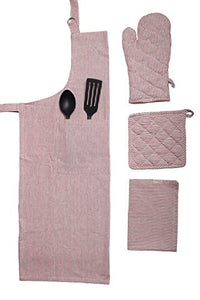 Woven stripe Kitchen Linen set of Apron,Oven Mitt,Pot Holder and Dish towel