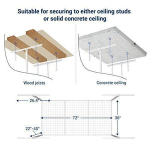 Amazon fleximounts 2 pcs 3x6 overhead garage adjustable ceiling storage rack 72 length x 36 width x 40 height 2 rack package white