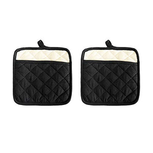 "Pot Holder Set, Solid Silicone Black Color, Set Of 2, Extra Large Heat Resistant Cotton Quilted Silicone Printed, Non Slip Grip, With Pocket & Terry Lining. Size 9 X 9""."