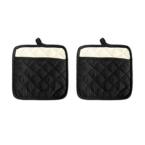 Pot Holder Set, Solid Silicone Black Color, Set Of 2, Extra Large Heat Resistant Cotton Quilted Silicone Printed, Non Slip Grip, With Pocket & Terry Lining. Size 9 X 9