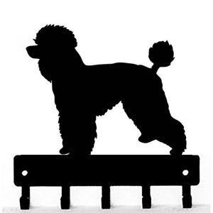 The Metal Peddler Poodle Natural Cut Dog - Key Hooks & Holder - Small 6 inch Wide