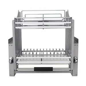 Discover kitchen pull down chrome steel 2 tier wire dish drainer rack utensils basket shelf plate holder for 600mm width cabinet