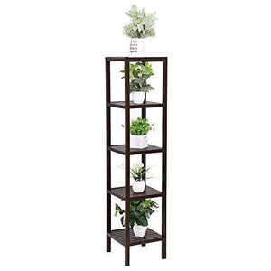 The best songmics 100 bamboo bathroom shelf 5 tier multifunctional storage rack shelving unit bathroom towel shelf for kitchen livingroom bedroom hallway brown ubcb55z