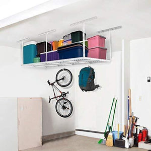 Save on fleximounts 2 piece 3x8 ft overhead garage storage rack set ceiling storage racks adjustable heavy duty 96 length x 36 width x 40 height white