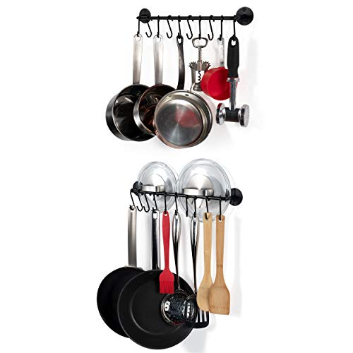 Wallniture Kitchen Cookware Organizer Rod with Hooks Painted Steel Black 16 Inch Set of 2