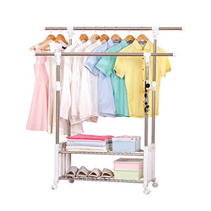 Siyushop Double Garment Rack- Adjustable Clothes Hanging Rail Stainless Steel Clothes Stand with Wheels White (L101-150W40H95-160cm)