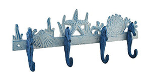 Zeckos Blue and White Seahorses Sea Life Cast Iron Wall Hook