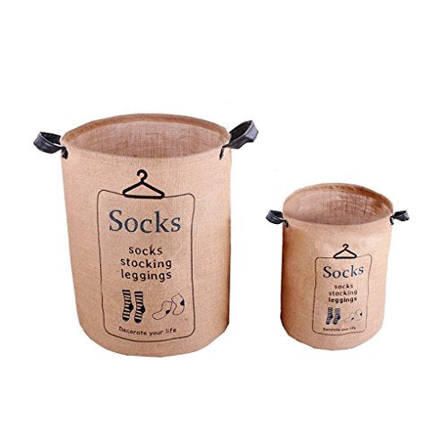 ZAKKA Waterproof Cotton Linen Foldable Round 2 Pcs Storage Bucket Organizer Pop-up Collapsible Laundry Hampers Dirty Clothes Shoes Basket Holder Baby's Toys Collection Box Closet Bin 2 Handles
