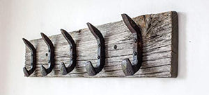 "Vintage Rustic Coat Rack –Authentic Barn Wood Hanger Rack for Towels, Clothes, Hats, Bags–Antique Door & Wall Mounted 5-Hook Rail (Railroad Spike Double Hook- 32""x5¾""x 7/8"", Gray)"