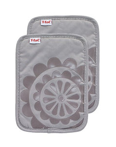 T-fal Textiles 97165 2-Pack Medallion Design 100-Percent Cotton Silicone Pot Holder, Gray, 2 Pack