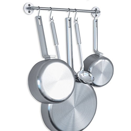 Steel Gourmet Kitchen 16 Inch Wall Rail and 10 S Hooks Set Utensil Pot Pan Lid Rack Storage Organizer Silver Color