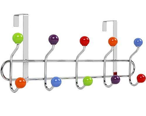 Buy galashield over the door hook rack multi color ceramic knobbed hooks and stainless steel rack