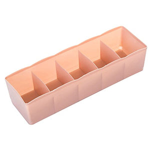 super1798 5 Cells Plastic Storage Box Tie Bra Socks Drawer Divider Tidy Organizer - Light Pink
