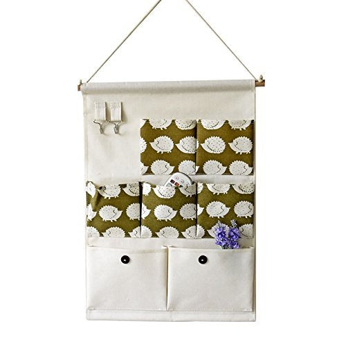 Xaber Kin 19.68'' x 13.78'' Wall Hanging Storage Bags Linen/Cotton Fabric Animal Closet Organizer(7 Pockets with 2 Hangers) (Hedgehog)