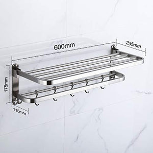 Products 304 stainless steel towel racks for bathroom with double towel bars 24 inch wall mount bath rack rustproof double layers foldable rail shelves bar with hooks