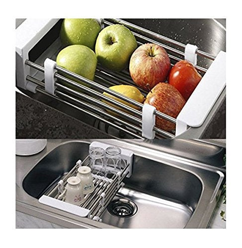 Vivian Fruits and Vegetables Draining Rack Multifunctional Telescopic Stainless Steel Sink Drain Basket Rack Storage Organizer (White)