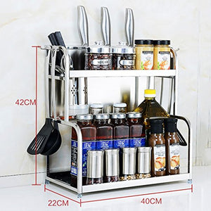 ZAQI Kitchen Spice Utensil Rack Organizer Storage Unit Shelf with Hanging Hooks Knife Slots Cup Stainless Steel Racks (Size : Length 40cm)