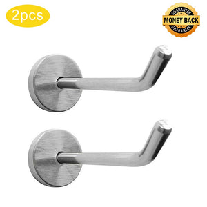 Shineme2Pack Stainless Steel Wall Hook Single Holder for Living room Coat Hat Robe hanger Bathroom Towel Kitchen Strong Heavy Duty Garage Storage Organizer Utensil Hook(large-2pcs)