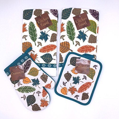 Teal White Colorful Leaves Kitchen Dish Towels and Pot Holders Set, 4 Pc.