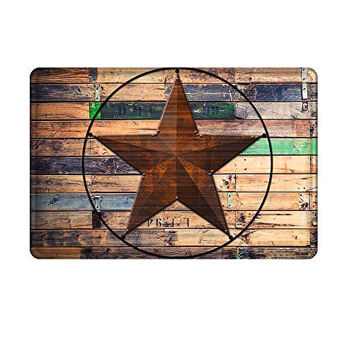 Uphome Rustic Barn Star Bathroom Rug, Non Slip Coral Velvet Foam Bath Mat with Design Retro Western Texas Star on Brown Wooden Grain Shower Mat Kitchen Rug, 20x32