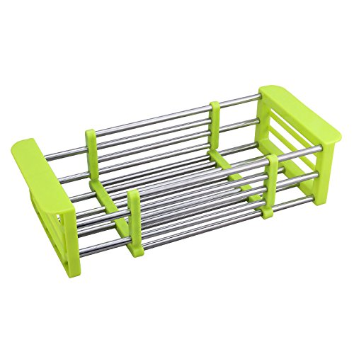 Vivian Fruits and Vegetables Draining Rack Multifunctional Telescopic Stainless Steel Sink Drain Basket Rack Storage Organizer (Green)