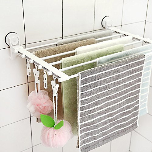 SUIXINSUOYU Small Clothes Hanger,Collapsible Clothes Drying Rack Drying Shoe Rack Perforated Towel Rack Drying Socks More Clothes Clips-White