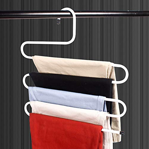 Visionhome 10 Pack, S Type 5 Layer Metal Hanger with Multi-Purpose for Pants Cloths Tie Scarf (White)