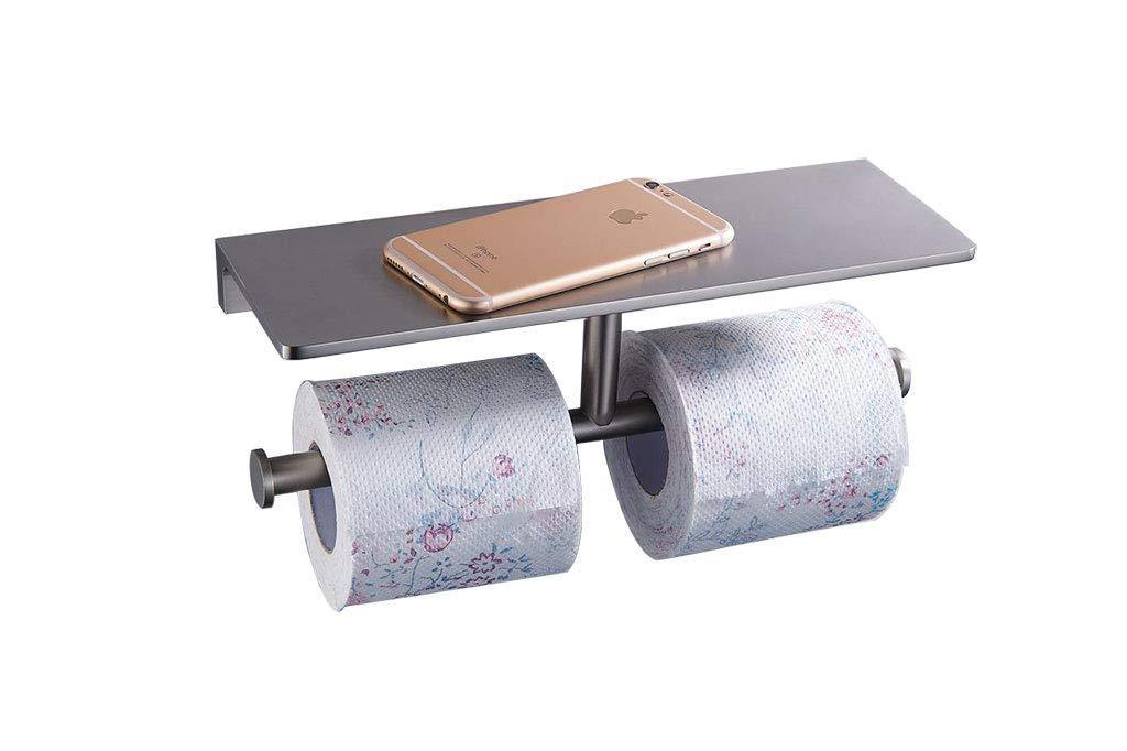 New sanliv double roll restroom toilet tissue holder wall mounted hotel bathroom paper towel dispenser with heavy brass storage rack shelf in brushed nickel finish