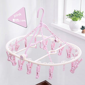 U-emember Iraq Socks Clothes Rack Multi-Clip-Disk Home and Coat Hanger Holding Bra Baby Plastic Circular Coat Hanger, 1 of The 18 Clips - Light Pink