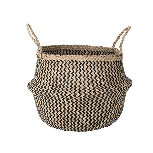 Sona Home Seagrass Basket with Handles | 4 Sizes, 2 Styles | Woven Basket for Plants, Belly Basket, Blanket Holder | Multipurpose Decorative Storage Baskets