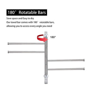 Budget elifeapply swivel towel rack stainless steel swing out towel bar 4 swing arms wall mounted towel holder space saving swinging towel bar for bathroom and kitchen