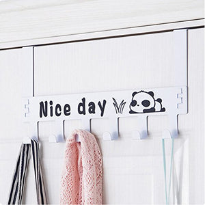 Yiuswoy Hooks Over The Door Organizer 6 Hooks Rack, Creative Cartoon Decorative Hanger Holder for Hat Bag Coat Towel, Removeable - Panda, White