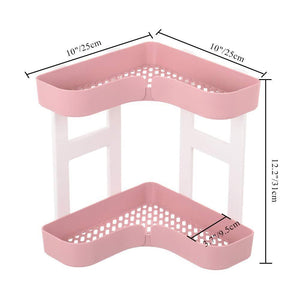 Save feoowv 2 tier kitchen countertop corner storage rack bathroom corner shelf space saving organizer for spice jars bottle holder stylec pink