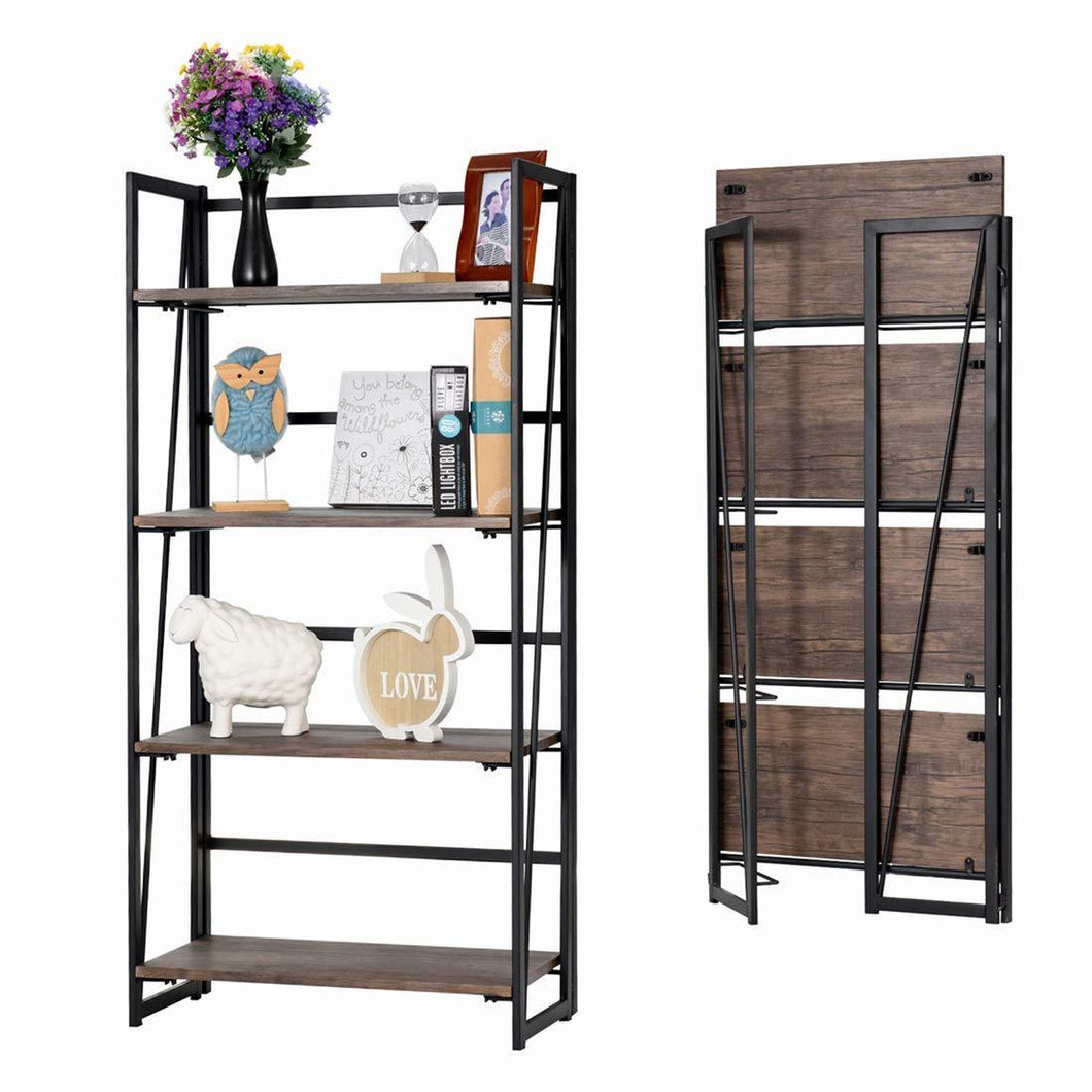 Storage organizer good life folding bookshelf rack 4 tiers bookcase rustic decor furniture shelf storage rack no assembly industrial stand sturdy shelf organizer for home office 23 5 x 11 7 x 49 inches hou545