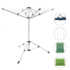 Latest drynatural foldable umbrella drying rack clothes dryer for laundry 4 arm 28 lines aluminum 65ft for indoor outdoor