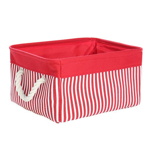 "uxcell Storage Basket Bin, Collapsible Laundry Basket with Rope Handles,Decorative Fabric Basket for Shelves Office Closet Organizer, Red (Small - 13.8""x9.8""x6.7"")"