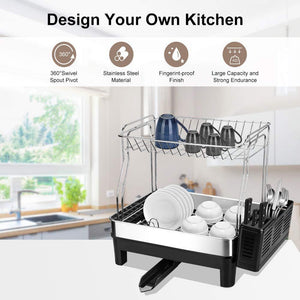 Top kedsum rust proof stainless dish rack 2 tier detachable dish drying rack with removable utensil holder dish drainer with 360 degrees adjustable swivel spout for kitchen counter
