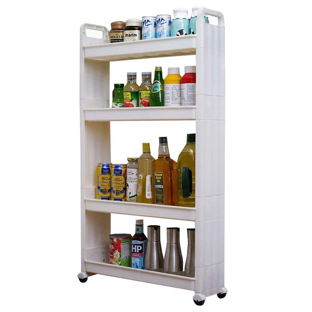 Products baoyouni slim slide out rolling storage cart tower narrow space organizer rack with wheels for laundry bathroom kitchen living room 4 tier