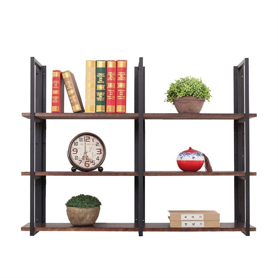 Cheap warm van industrial vintage 36 in wood iron floating storage shelves hanging shelf wall mounted bookcase living room bedroom diy wall rack
