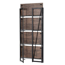 Top rated good life folding bookshelf rack 4 tiers bookcase rustic decor furniture shelf storage rack no assembly industrial stand sturdy shelf organizer for home office 23 5 x 11 7 x 49 inches hou545