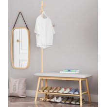 Shop here zhen guo entryway shoe bench with coat rack modern bamboo shoe rack organizer with hall tree coat and hat hanger over the door color natural