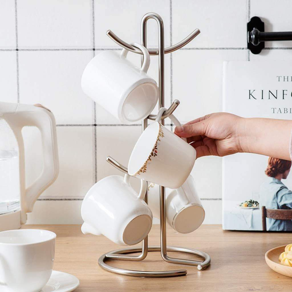 Amazon 6 cup mug tree holder cups drainer metal mugs drying rack tea cup organizer hanger 39 17 17cm