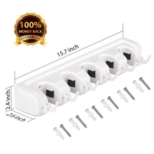 Cheap letmy broom holder wall mounted mop and broom holder garage storage rack garden tool organizer 5 position 6 hooks for home kitchen garden tools garage organizing white 1 pack