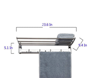 Top candora 24in wall mounted shelf towel rack stainless steel specular finish towel shelf towel holder with 8 hooks