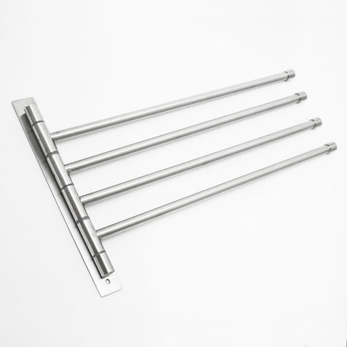 Heavy duty swivel towel rack stainless steel swing out towel bar space saving swinging towel bar for bathroom wall mounted towel holder organizer with 4 arms easy to install brushed finish 17x10
